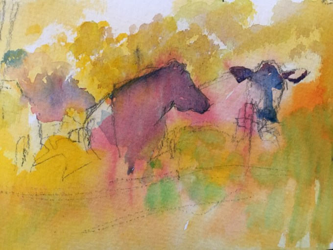 Cattle in Conversation, watercolour , 12 x 18 cm