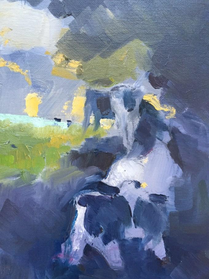 Morning Cattle, Oil on Board, 18 x25 cm