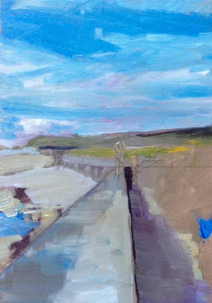 Sea wall, St Ouen, Jersey, Oil on Board, 18 x 25 cm