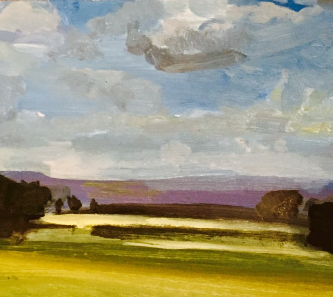Towards Mere, Oil on Board, 41 x 25 cm