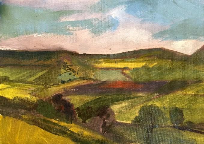 Climbing Cadbury Hill, Oil on Board, 18 x12 cm