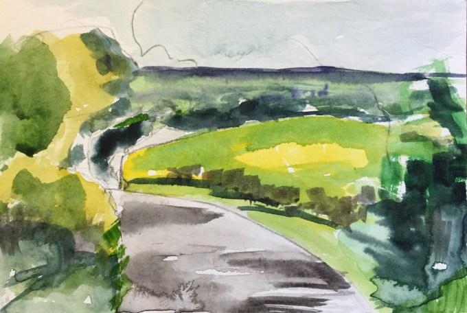 Village Lane, watercolour, 15 x 10 cm