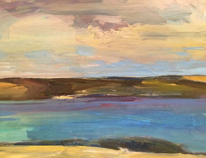 Across Estuary, Daymer Bay, Oil on Board, Detail