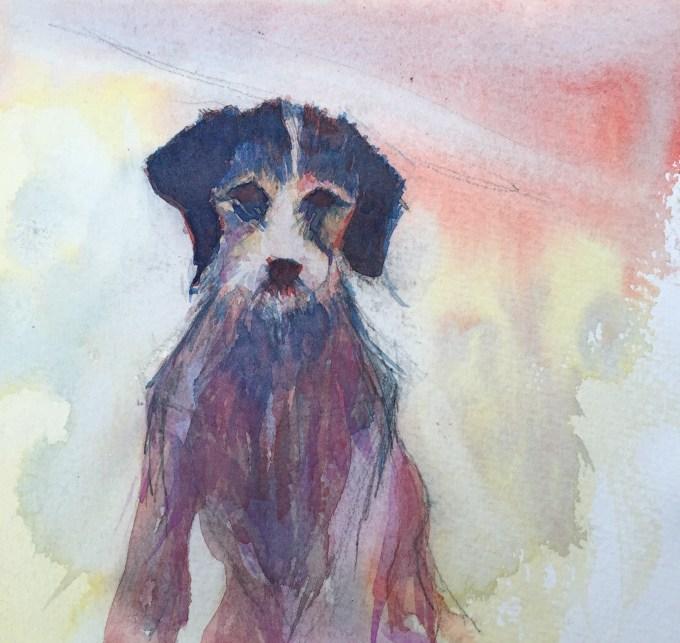 Winter Pooch, Watercolour, 16 x 16 cm