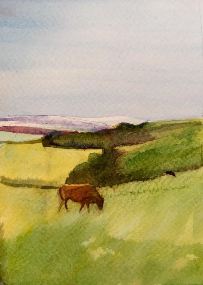 New Year Cows, Watercolour, 12 x17cm