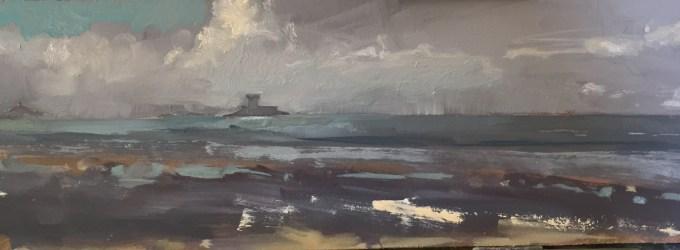 St Ouen, Jersey, oil on Board, 28 x 10 cm