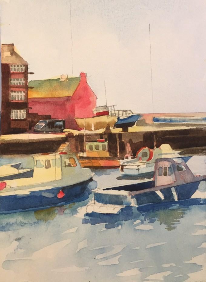Boats IV, watercolour, 18 X 13 cm
