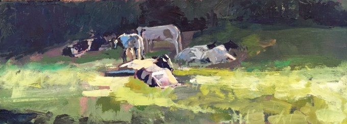 Cattle Warming, oil on board,, 32 X 12 cm