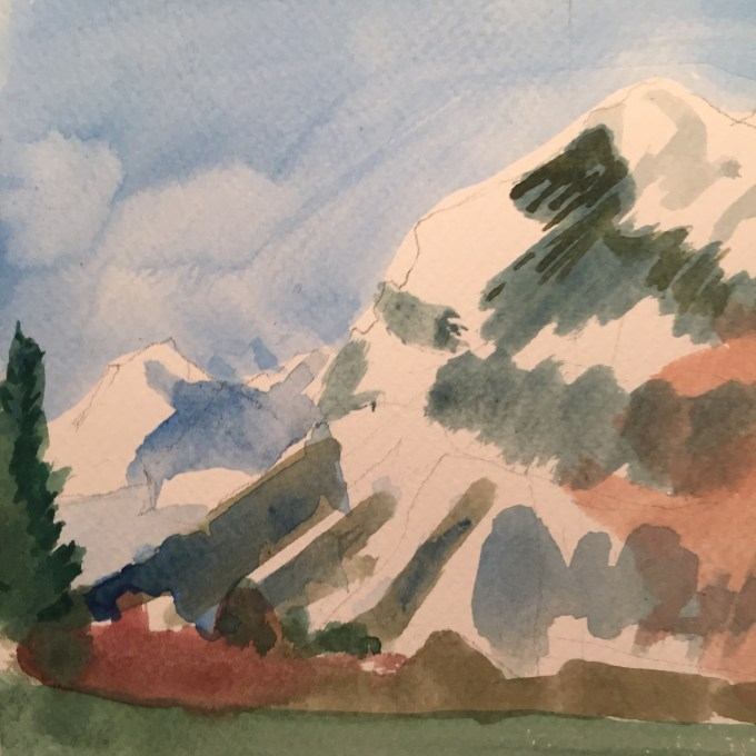 Les Carroz,watercolour sketch