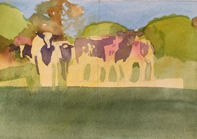 Cattle in May III, Watercolour 17 X 13 cm