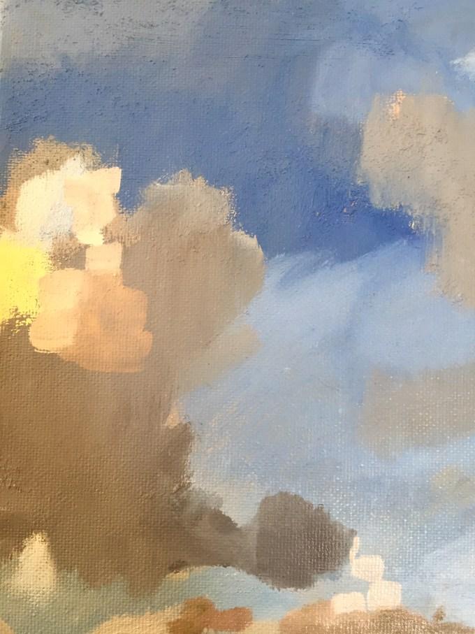 Cloud Building II, oil on canvas.