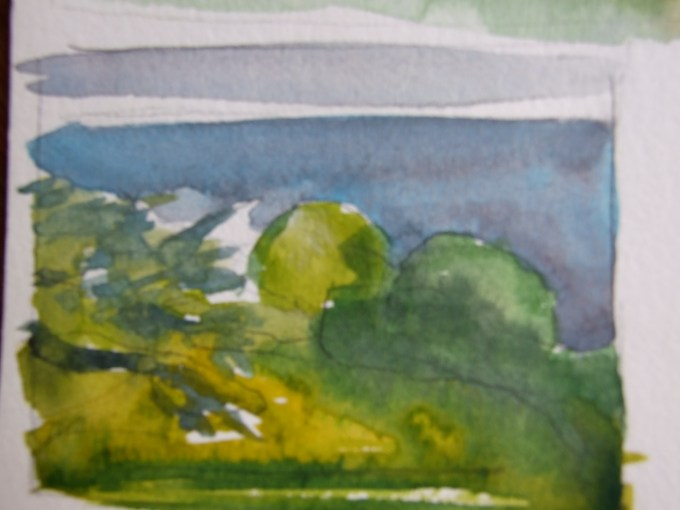 Land , sea , sky, watercolour sketch.