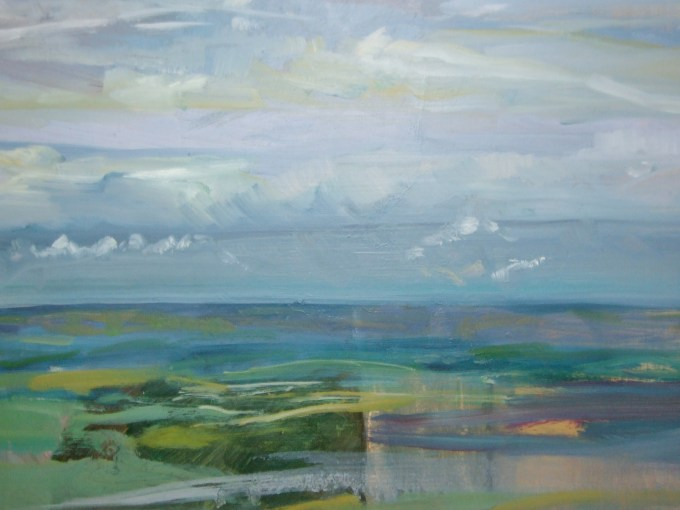 Vale view, oil on board.