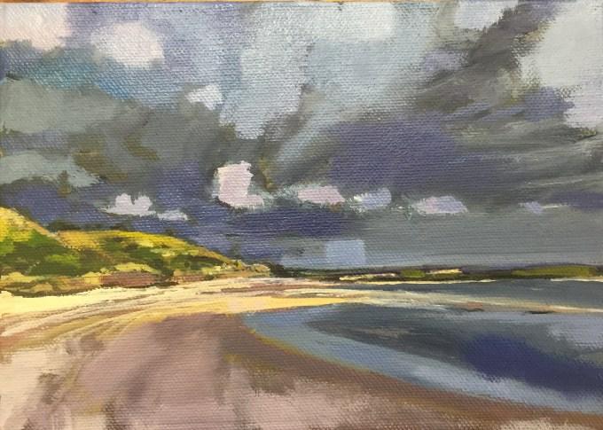 Storm on it's Way, Rock Cornwall, 14x19cm oil on board