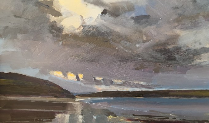 Daymer Bay, Winter Evening, Cornwall and Alps Waiting for Snow, Preselected for the New English Art Club Annual Open Exhibition,Mall Galleries London.