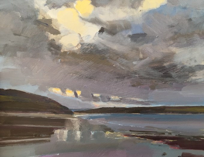 Daymer Bay, Winter Evening, Cornwall, 21x16cm.