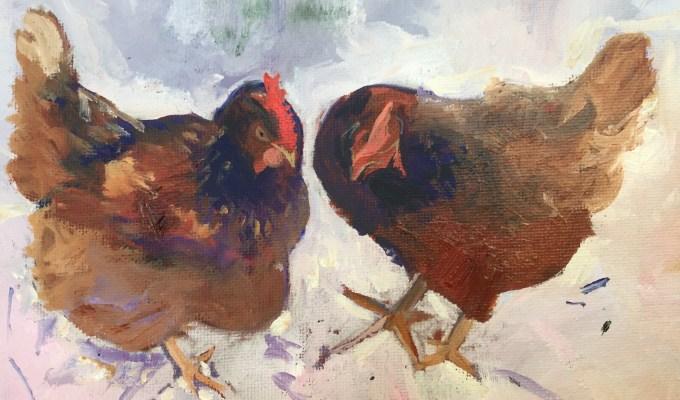 Hens in Spring II