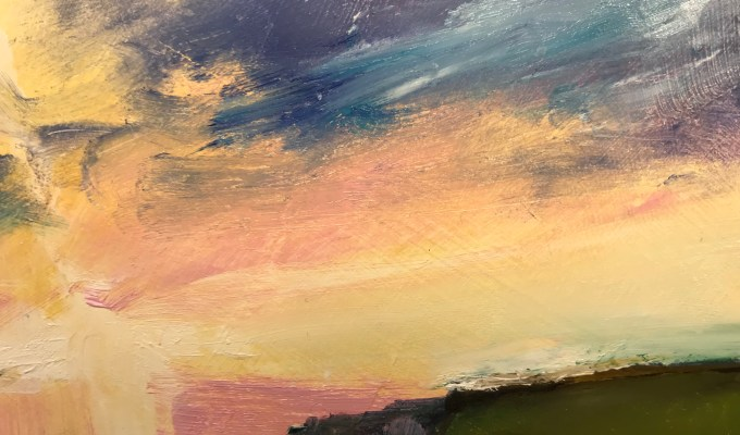 Sunset Daymer, oil on paper (detail)