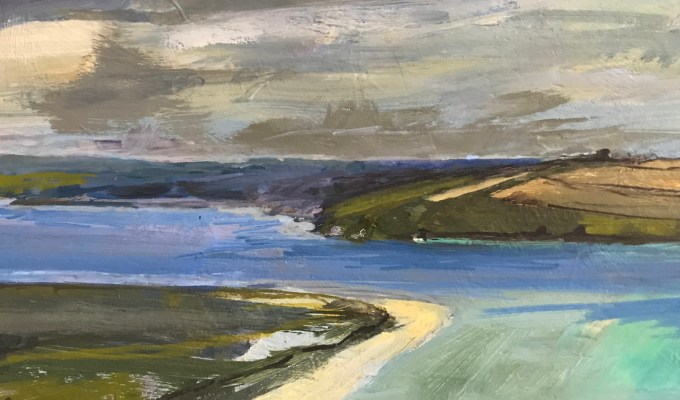 View of Padstow from Brae Hill, oil on board, (detail)
