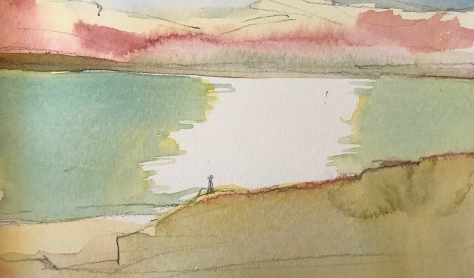Daymer Evening, watercolour sketch