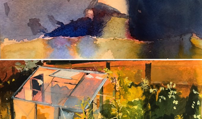 Preselected for Royal Institute of Painters in Watercolour Annual Open Exhibition 2020 (Mall Galleries) Old Harry, Studland, Dorset and Greenhouse, Evening, East Knoyle.