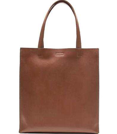 Portfolio Structured Tall Leather Tote