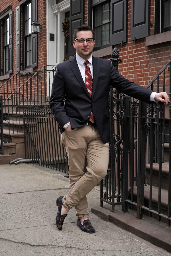 2da884a8b713 Outfit: blazer: Brooks Brothers 200th Anniversary Edition 1818 Navy Blazer  // pants: Ben Sherman Slim Fit Stretch Chinos // shirt: Brooks Brothers  Original ...