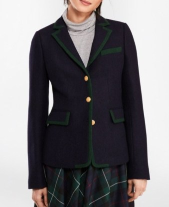 Brooks Brothers tipped wool rowing blazer