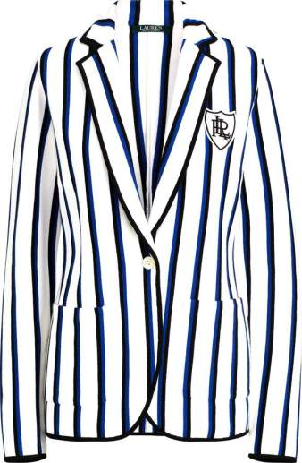 Ralph Lauren white striped crest blazer