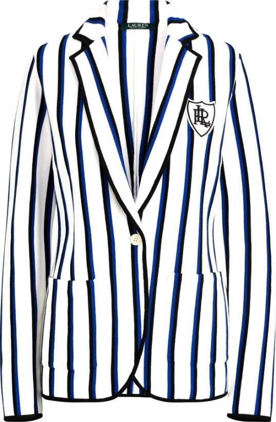Ralph Lauren white striped crest blazer