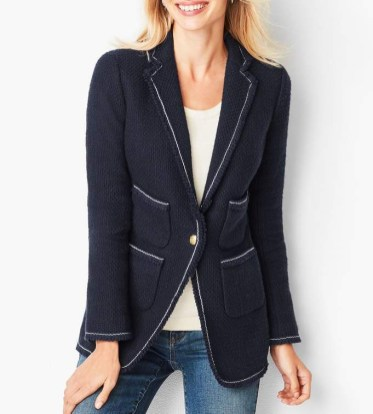 Talbots tipped tweed blazer