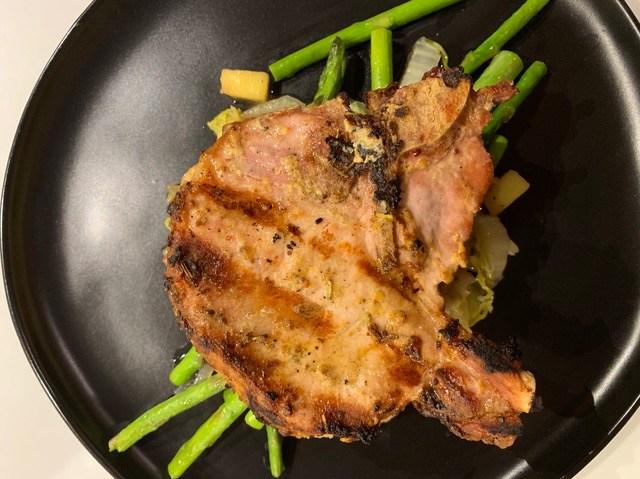 Mustard Grilled Pork Chop // @2souschefs