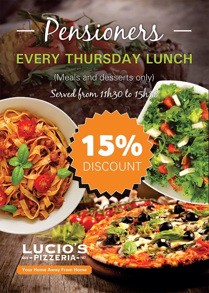 Lucios Pizza, Best Pizza, Near Me, Blackheath, Cresta, Restaurants in Randburg, #inrandburg, Pensioners Thursday Special at Lucios Pizzeria landscape