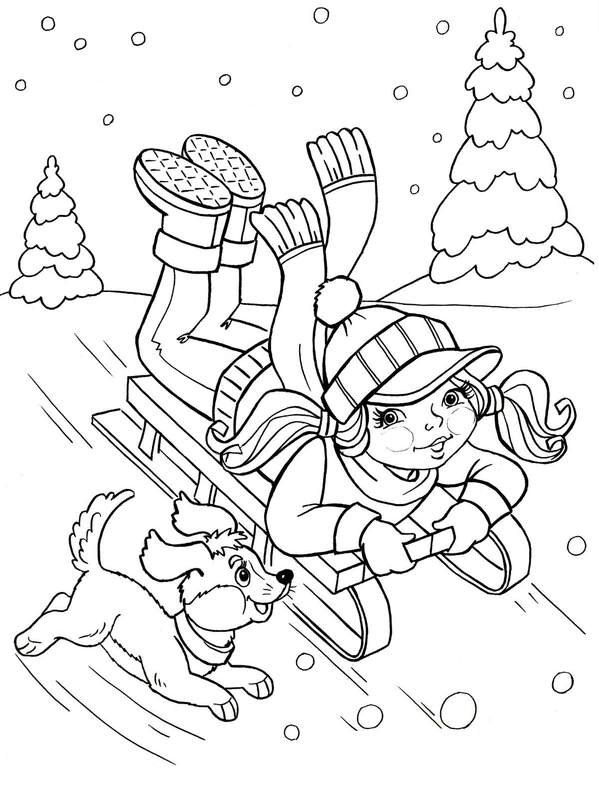 раскраска зимние виды спорта для дошкольников распечатать