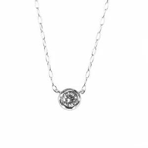 一粒ダイヤモンドネックレス プラチナ950 18Kイエローゴールド ピンクゴールド