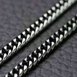 ダブル喜平ネックレス ロジウムメッキ 2面カット