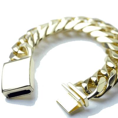 ダブル喜平 ブレスレット 金色 6面カット 幅22mm