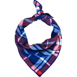 Luck of tuck blue and orange plaid dog bandana