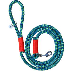 blue green orange rope dog leash