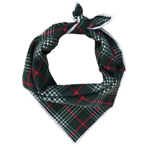 classic green, red and white Christmas plaid dog bandana