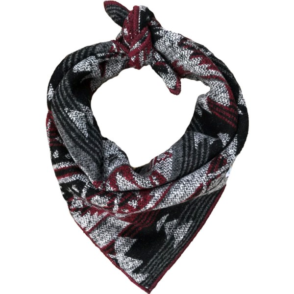 burgundy, black + grey geometric Aztec dog bandana