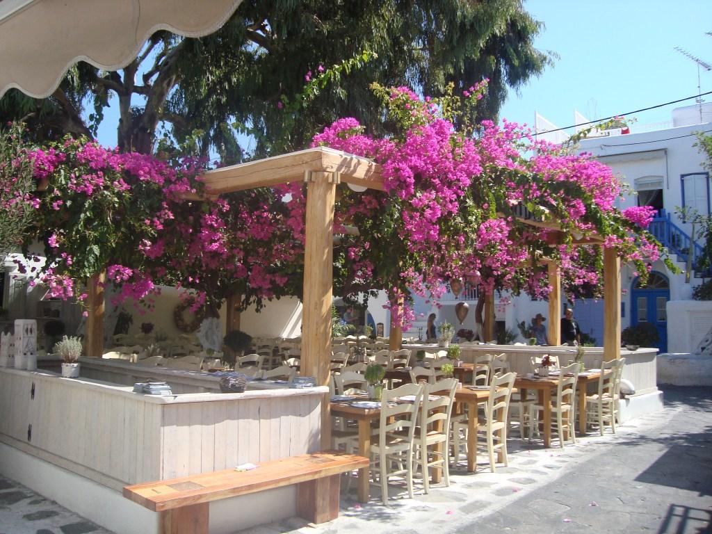 a gorgeous cafe in Mykonos Greece