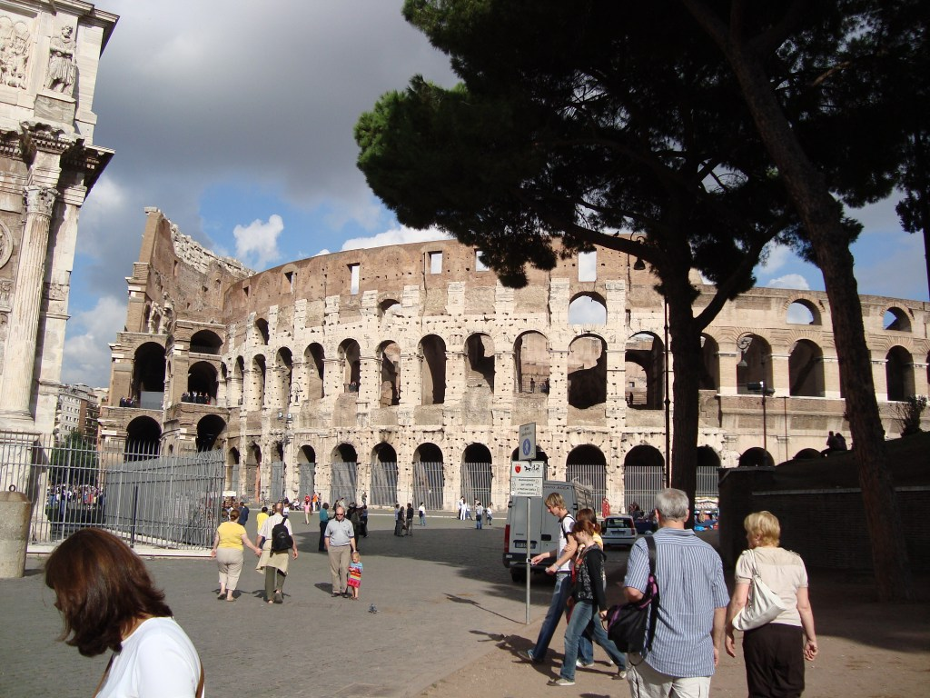 outside the colosseum in Rome, Italy