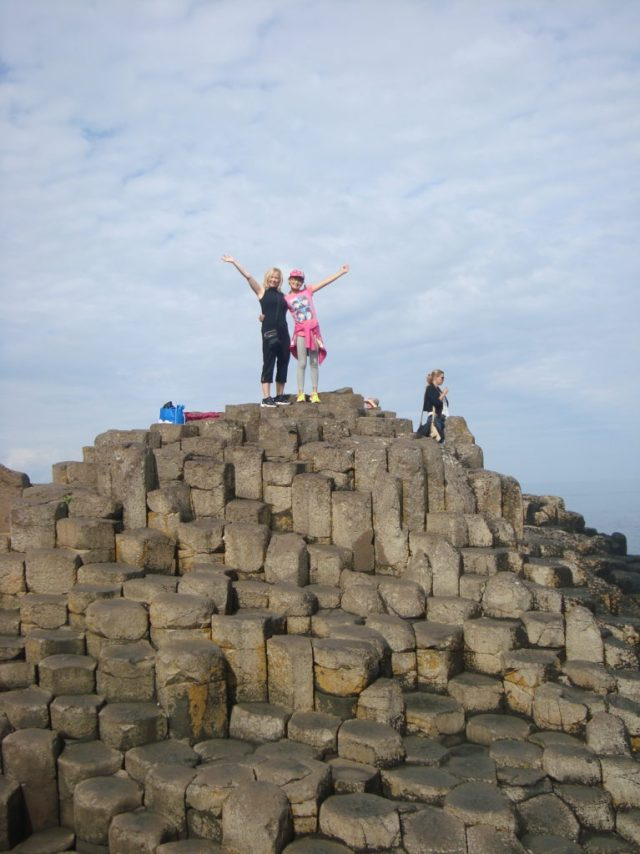 on top of the stones at Giant's Causeway