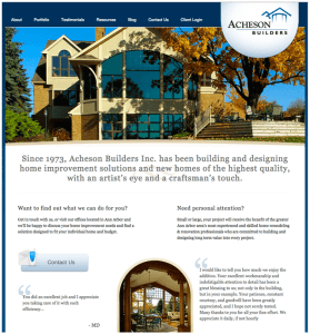 homepage of Acheson Builders of Michigan, powered by Lucky Cat Creative