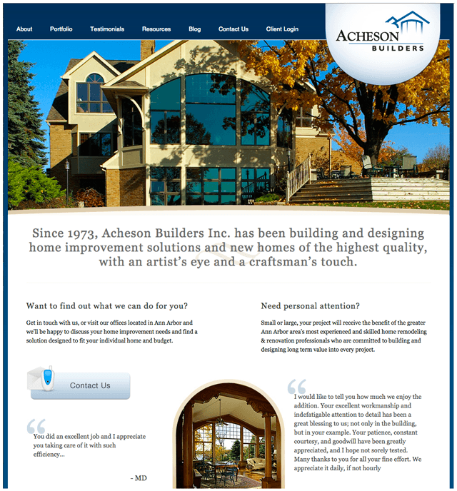Elaborate windows and trim of house featured on homepage of Acheson Builders of Ann Arbor, Michigan.