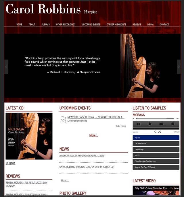 homepage of website of jazz harpist Carol Robbins