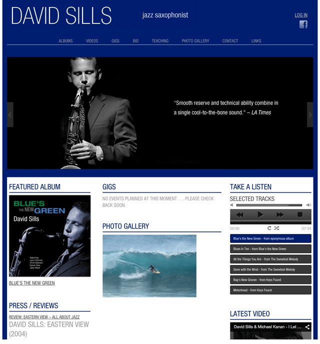 homepage of David Sills website powered by Lucky Cat Creative