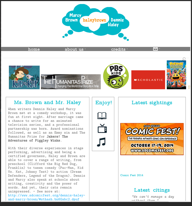 homepage of website of Emmy and Humanitas award-winning children's animation writing team Marcy Brown and Dennis Haley