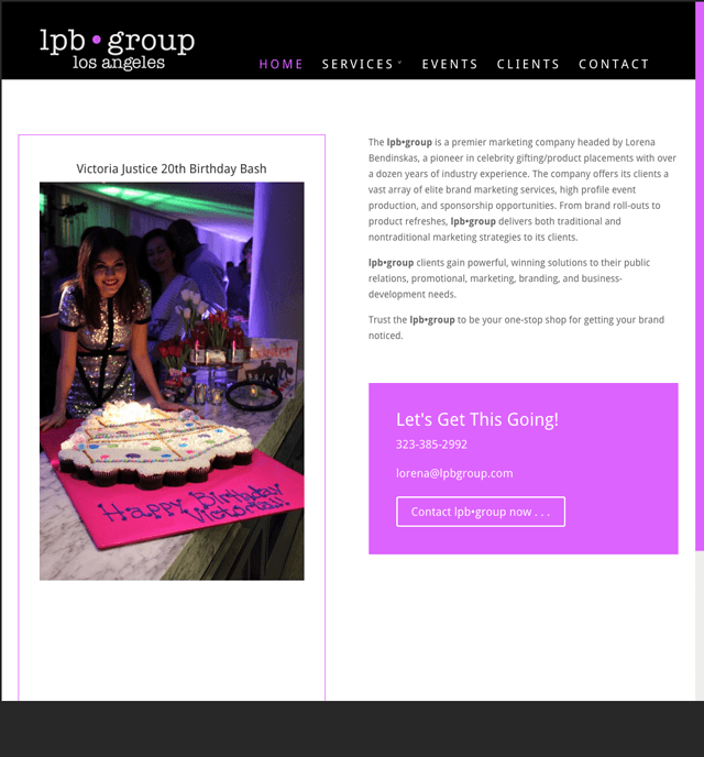 homepage of lob•group website, designed, built, powered by Lucky Cat Creative